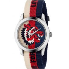 Gucci Mens G-Timeless Embroidered Wolf Motif Multicolor Fabric Strap Watch YA1264059