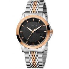 Gucci Mens G-Timeless Two Colour Black Dial Bracelet Watch YA126410