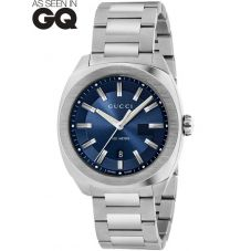 Gucci Mens GG2570 Stainless Steel Blue Dial Bracelet Watch YA142303