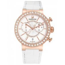 Swarovski Citra Sphere Rose Gold Tone Chronograph White Strap Watch 5080602