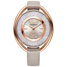 Swarovski Crystalline Oval Rose Gold Tone Grey Strap Watch 5158544