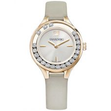 Swarovski Lovely Crystals Mini Rose Gold Tone Grey Strap Watch 5261481