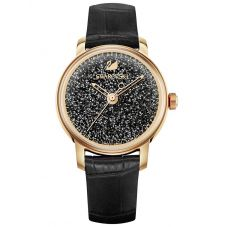 Swarovski Crystalline Hours Rose Gold Tone Black Strap Watch 5295377