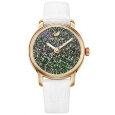 Swarovski Crystalline Hours Rose Gold Tone White Strap Watch 5344635