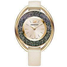 Swarovski Crystalline Oval Rose Gold Tone Pink Strap Watch 5296319