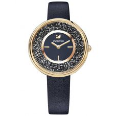 Swarovski Crystalline Pure Rose Gold Tone Black Strap Watch 5275043