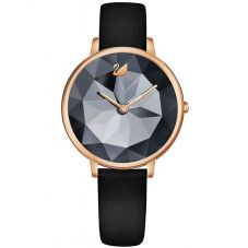 Swarovski Crystal Lake Rose Gold Tone Black Watch 5416009