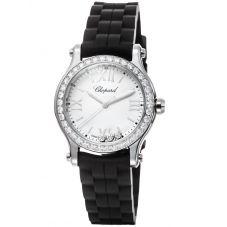 Chopard Ladies Happy Sport Diamond Rubber Strap Watch 278590-3003
