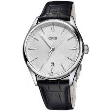 Oris Mens Artelier Date Black Leather Strap Watch 733 7721 4051-07LS