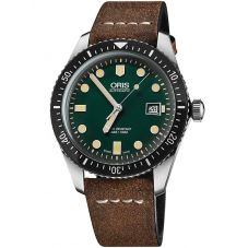 Oris Mens Divers Sixty-Five Brown Leather Strap Watch 733 7720 4057-07 5LS