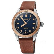 Oris Mens Divers Sixty-Five Brown Leather Strap Watch 733 7707 4355-07 5 20 45
