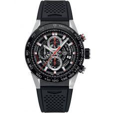 TAG Heuer Mens Carrera Calibre Heuer01 Black Skeleton Rubber Strap Watch CAR2A1Z.FT6044