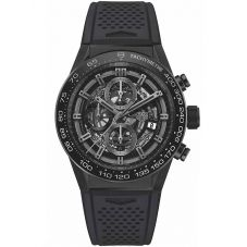 TAG Heuer Mens Carrera Calibre Heuer01 Skeleton Rubber Strap Watch CAR2A91.FT6071