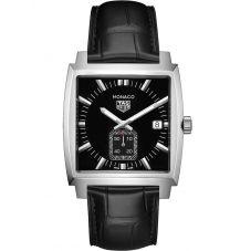 TAG Heuer Mens Monaco Quartz Black Leather Strap Watch WAW131A.FC6177