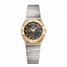 Omega Ladies Constellation Quartz Two Tone Black Dial Bracelet Watch 123.20.24.60.57.006