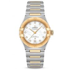 Omega Ladies Constellation Manhattan Diamond Set Mother Of Pearl Two-Tone Bracelet Watch 131.20.29.20.55.002