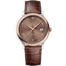 Omega Mens De Ville Prestige Brown Dial Leather Strap Watch 424.23.40.20.13.001
