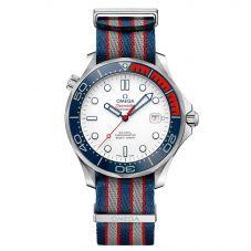 Omega Mens Seamaster Diver Commander James Bond 007 Fabric Strap Watch 212.32.41.20.04.001