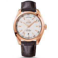 Omega Mens Seamaster Aqua Terra 18ct Gold Leather Strap Watch 231.53.42.22.02.001
