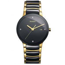Rado Mens Centrix Diamonds Quartz Black and Gold Ceramic Bracelet Watch R30929712 L