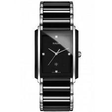 Rado Mens Integral Diamonds Quartz Date Black and Silver Ceramic Bracelet Watch R20206712 L