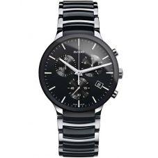 Rado Mens Centrix Chronograph Quartz Black and Silver Ceramic Bracelet Watch R30130152