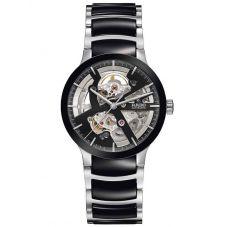 Rado Mens Centrix Automatic Open Heart Black and Silver Ceramic Bracelet Watch R30178152