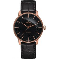 Rado Mens Coupole Classic Automatic Black Leather Strap Watch R22861165