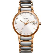 Rado Mens Centrix Quartz Grey and Rose Ceramic Bracelet Watch R30554103