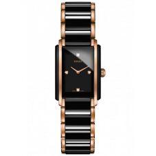 Rado Ladies Integral Diamonds Quartz Black and Rose Ceramic Bracelet Watch R20612712 S