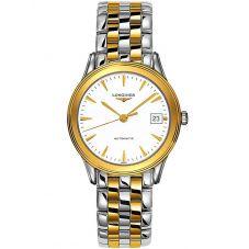 Longines Mens Flagship White Dial Two Colour Bracelet Watch L47743227