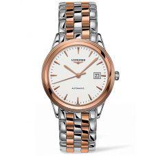 Longines Mens Flagship White Dial Two Colour Bracelet Watch L49743927