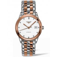 Longines Mens Flagship Diamond Set White Dial Two Colour Bracelet Watch L49743997