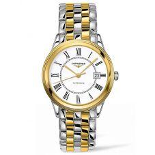 Longines Mens Flagship White Dial Two Colour Bracelet Watch L49743217