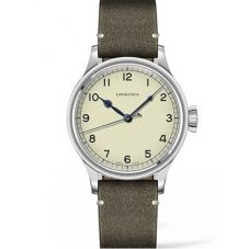 Longines Mens Heritage Military Green Leather Strap Watch L28194932