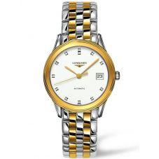 Longines Mens Flagship Diamond Set White Dial Two Colour Bracelet Watch L47743277