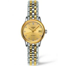 Longines Ladies Flagship Diamond Set Gold Dial Two Colour Bracelet Watch L42743377