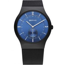 Bering Mens Black Blue Mesh Bracelet Watch 11940-227