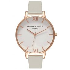Olivia Burton White Dial Rose Gold And Grey Strap Watch OB15BDW02