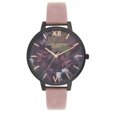 Olivia Burton After Dark Black And Rose Pink Suede Leather Strap Watch OB16AD38