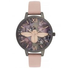 Olivia Burton Twilight 3D Bee Mother Of Pearl Midi Dial Dusty Pink Leather Strap Watch OB16TW02