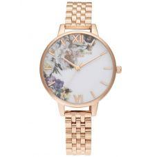 Olivia Burton Enchanted Garden Demi Dial Rose Gold Plated Bracelet Watch OB16EG135