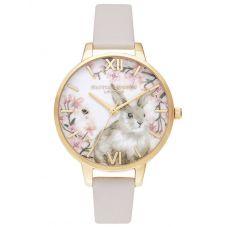 Olivia Burton Bunny Demi Dial Gold Plated Blush Strap Watch OB16WL74