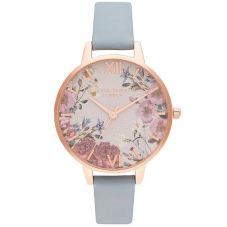 Olivia Burton British Blooms Rose Gold Plated Chalk Blue Leather Strap Watch OB16EG132