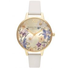 Olivia Burton Best In Show Gold Plated Floral Dial Nude Strap Watch OB16EG121