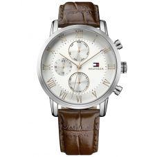 Tommy Hilfiger Kane Silver Chronograph Dial Brown Leather Strap Watch 1791400