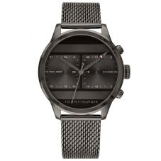 Tommy Hilfiger Icon Stainless Steel Ion Plated Dark Grey Dual Time Mesh Strap Watch 1791597