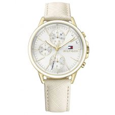 Tommy Hilfiger Carly Gold Plated Chronograph Dial Nude Leather Strap Watch 1781790