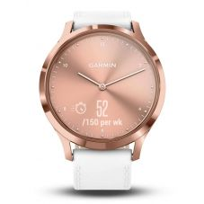 Garmin Vivomove HR Rose Gold Plated White Leather Strap Smartwatch 010-01850-AB