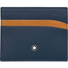 Montblanc Meisterstuck Navy Blue Tan Pocket Credit Card Holder 6cc 118309